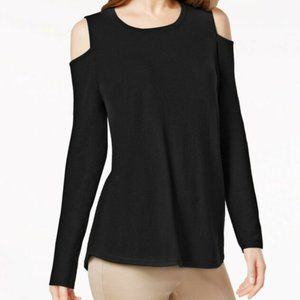 !!~ Black 100% Cashmere Cold-Shoulder Sweater ~!!